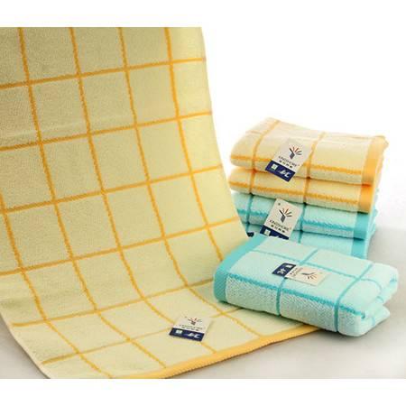金号 纯棉毛巾 全棉素色提缎 柔软吸水 清新格纹 厚实GA1136