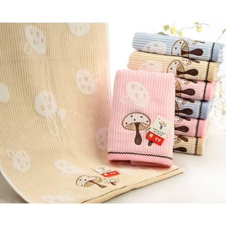 金号纯棉毛巾无捻提锻割绣面巾素色大方蘑菇图案RA138WH