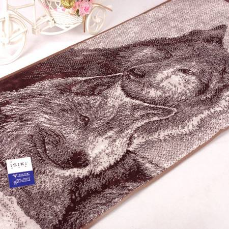 金号毛巾GA1036纯棉提花狼图案割绒工艺柔软厚实吸水