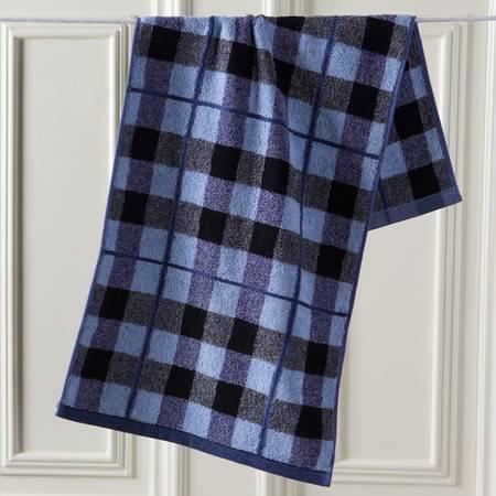 金号专柜正品纯棉大毛巾 G1407纯棉提缎方格时尚男士面巾