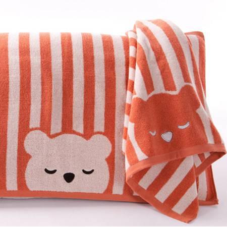 金号正品 纯棉厚实柔软枕巾 卡通可爱眯眼熊 柔软舒适S2131
