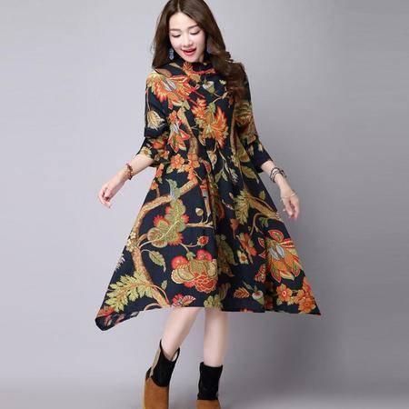 瑶行服饰 春秋季新款大码女装复古民族风宽松大摆长裙子长袖棉麻连衣裙