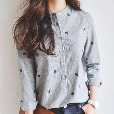 包邮 春秋装新款条纹拼色树叶刺绣韩版立领衬衫长袖显瘦女打底衬衣