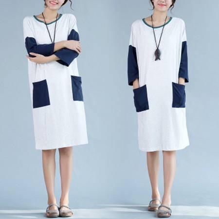 包邮 秋季女装新款大码显瘦文艺复古拼色宽松纯棉中长款长袖连衣裙
