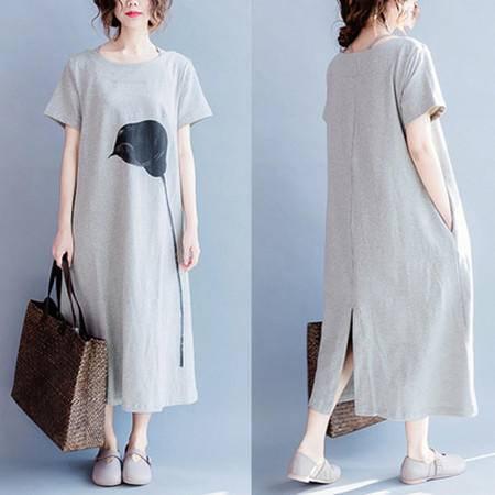 包邮 短袖新品韩版文艺一枝花简约宽松舒适纯棉中长款T恤裙女裙子