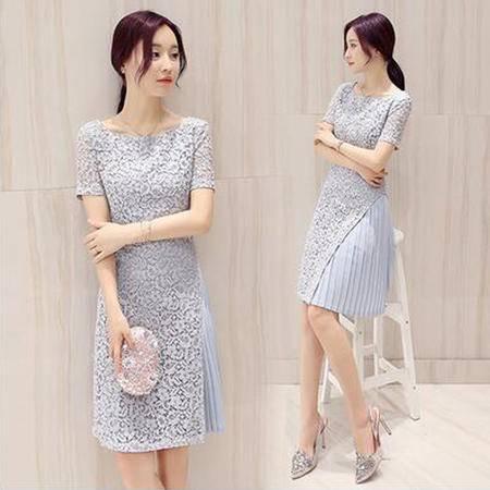 包邮 夏季新款韩版短袖蕾丝连衣裙女中长款修身雪纺裙