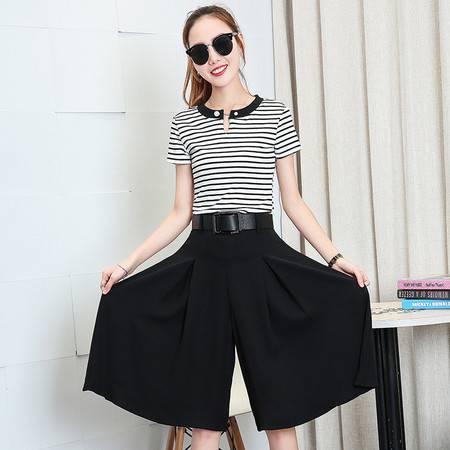 包邮 阔腿裤套装女夏季新款七分裤条纹短袖韩版时尚休闲显瘦两件套
