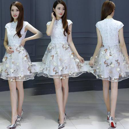 包邮 新款女装夏装韩版修身高腰连衣裙中裙女蕾丝短袖印花欧根纱裙