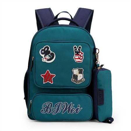 包邮 新品欧美布贴送笔袋减负2-4年级小学生双肩学生书包