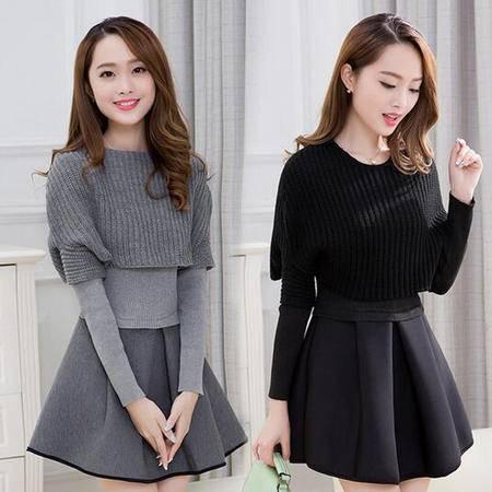 包邮 春秋冬季新款女装韩版修身长袖两件套连衣裙时尚套装A字裙子