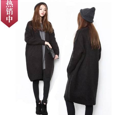 包邮 韩版毛衣外套加厚粗蝙蝠袖中长款针织纯色开衫宽松大码
