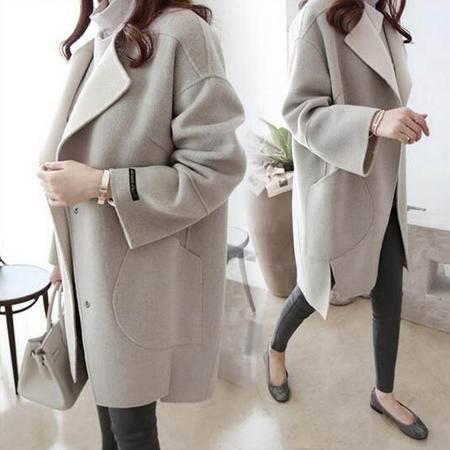 包邮 秋冬新款韩版宽松呢大衣中长款女装冬装茧型显瘦羊毛呢女潮