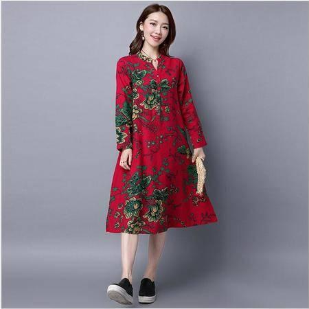 包邮 秋装新款韩版棉麻大码女装连衣裙名族风长袖宽松长裙显瘦休闲