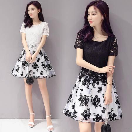 包邮 夏季新款韩版时尚蕾丝拼接印花连衣裙修身A字裙女