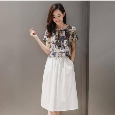 包邮 夏季印花复古两件套套装短袖裙子棉麻连衣裙夏中裙大码女装潮