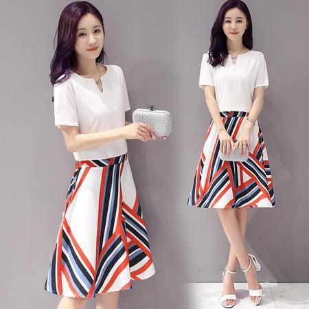 包邮 夏季韩版新款格纹时尚印花连衣裙修身显瘦两件套