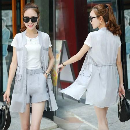 包邮 夏季新款女装马甲T恤短裤三件套韩版时尚名媛休闲套装女