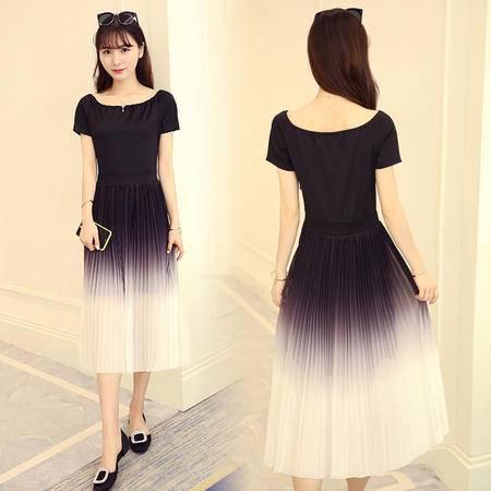 包邮 新款韩版修身显瘦时尚中长款短袖渐变色百褶连衣裙女
