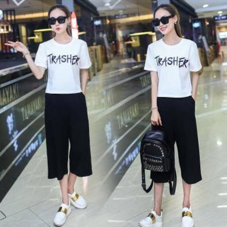 包邮 夏季新款韩版学生短袖T恤阔腿裤简约两件套休闲时尚套装女潮