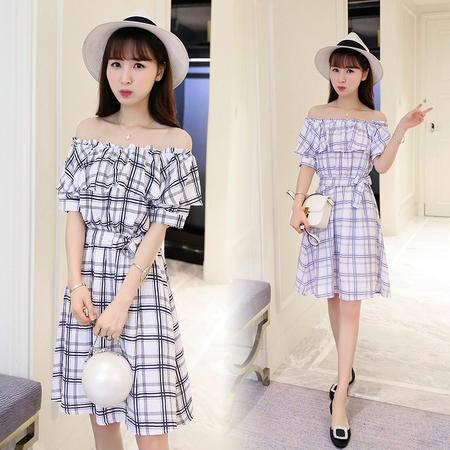 包邮 韩版女装短袖格子连衣裙收腰显瘦棉麻中长款大摆裙
