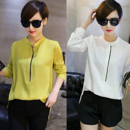 包邮 新款韩版OL时尚风长袖立领宽松显瘦打底衬衫雪纺衬衣女式