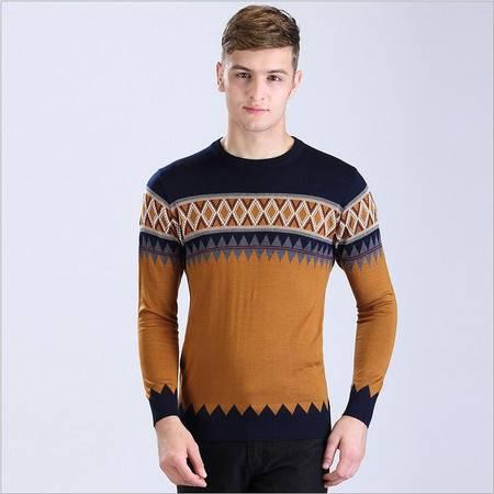 包邮  品牌男装新款男士针织t恤 条纹男式长袖羊毛衫 秋季韩版男毛衣薄