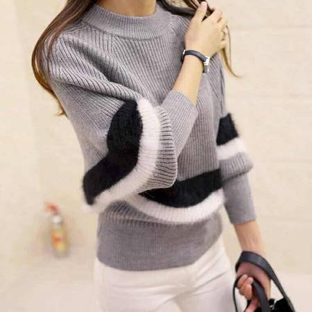 包邮 秋冬新款韩版时尚短款马海毛针织套头蝙蝠型毛衣女