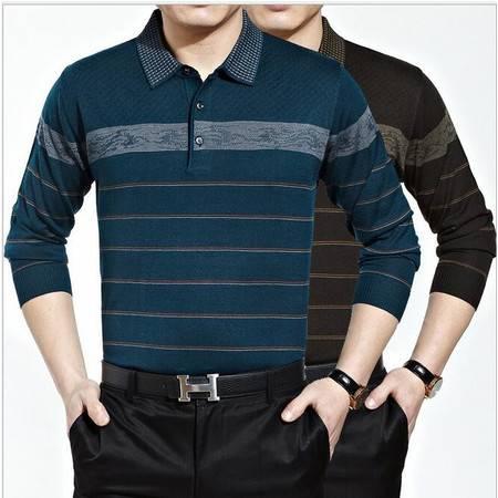 包邮 秋款长袖T恤男式翻领条纹男式毛衣商务男装针织t恤
