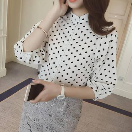 包邮 新款韩版宽松波点印花七分袖立领衬衣衬衫女