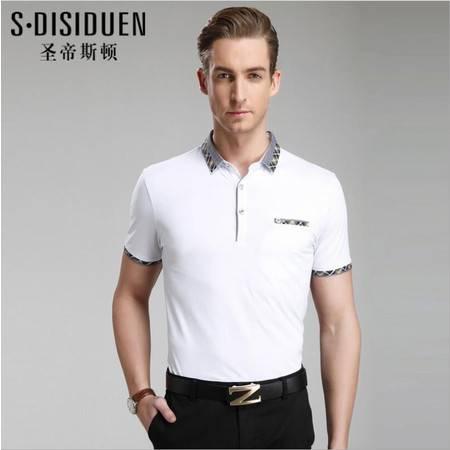 包邮 夏季新款男士T恤衫 商务男式翻领t恤衫 纯色男士T恤衫品牌