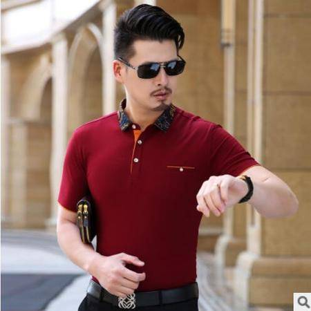 包邮 夏季中年男士短袖T恤 中年男翻领短袖t恤棉 丝光棉短袖体恤爸爸装