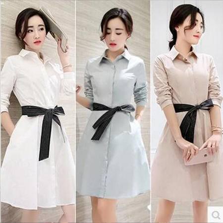包邮 秋装新款女装连衣裙中长款韩版时尚修身显瘦A字长袖衬衫