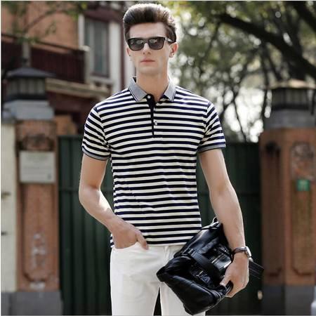 包邮 男士短袖体恤衫 翻领条纹男装t恤 男式T恤 夏季新品爆款男T恤