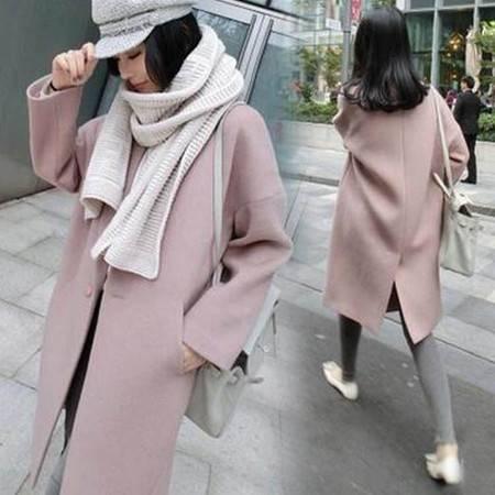 包邮 秋冬毛呢外套女中长款韩国宽松气质驼粉色羊毛呢子大衣潮