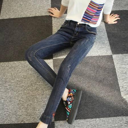 包邮 新款时尚韩版磨破牛仔女长裤修身显瘦贴布小脚铅笔裤