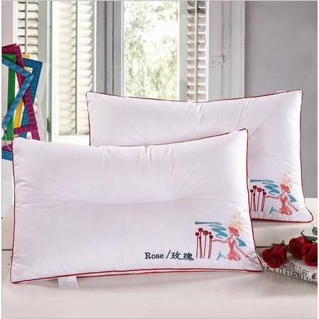 包邮 枕芯枕头纤丝羽绒枕全棉绣花立体羽绒枕真空压缩枕