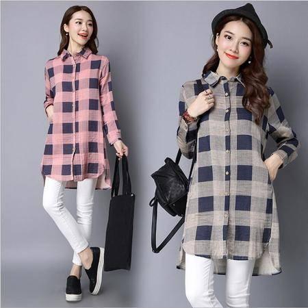包邮 格子衬衫女长袖韩范秋装新款休闲学生宽松大码显瘦中长款外套