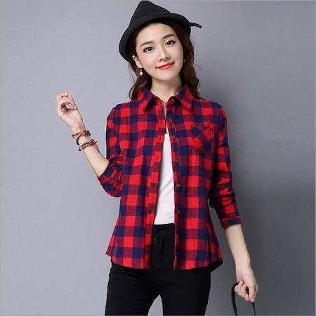 包邮 长袖格子衬衫短款休闲学生修身韩版衬衣女式上衣