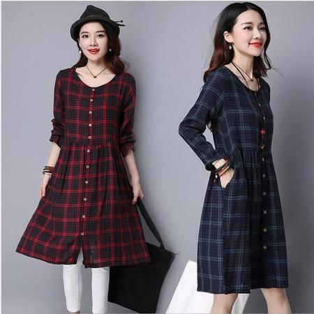 包邮 秋季新款韩版大码女装长袖时尚宽松显瘦棉麻格子中长款连衣裙