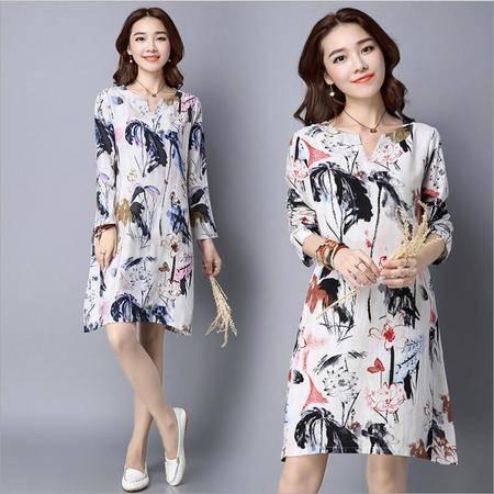 包邮 棉麻连衣裙秋装新款大码女装民族风长袖女中长款印花裙子