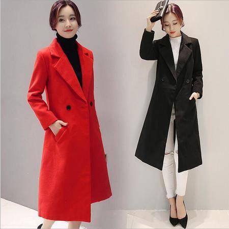 包邮 秋冬韩版新款双面呢过膝呢子大衣纯色中长款毛呢外套女
