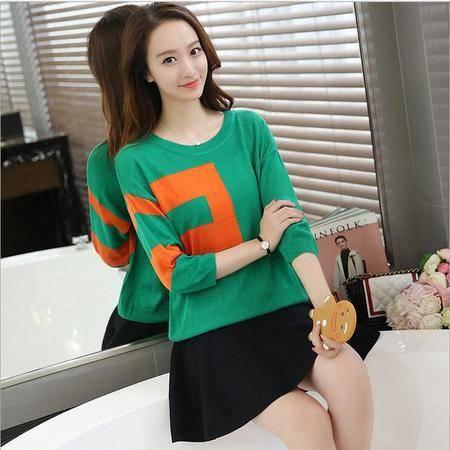 包邮 秋装新款韩版圆领套头撞色针织衫宽松七分袖上衣女