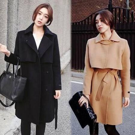 包邮 秋冬新款韩版修身呢子中长款收腰毛呢外套大衣女