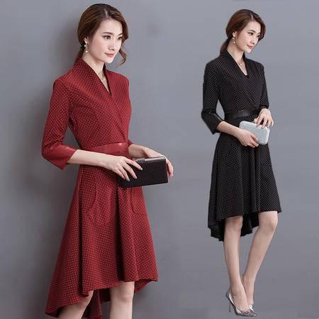 包邮 秋季新款韩版女装个性潮流七分袖A字显瘦不规则中长连衣裙女