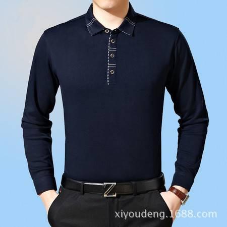 包邮 春装新款男装男式长袖丝光棉t恤 中年男士翻领体恤