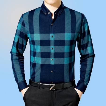 包邮 春季新款品牌男装男士长袖衬衫中年时尚衬衫休闲百搭薄款