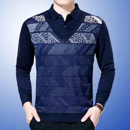 包邮 春秋薄款男装衣服中年男士长袖T恤爸爸装加大码衬衣