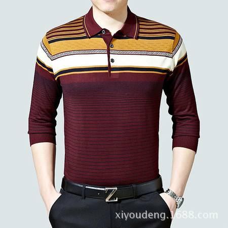 包邮 春季男装中年长袖t恤薄款 条纹翻领宽松男士针织打底棉T恤衫