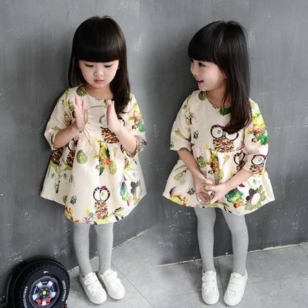 秋款女童韩版可爱满版猫头鹰中袖连衣裙