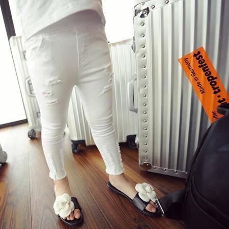 秋装新款糖果色小脚破洞仿牛仔裤打底裤